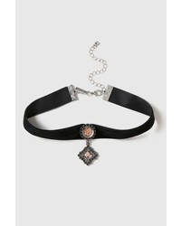 Stone Drop Velvet Choker Necklace