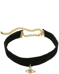 Rebecca Minkoff Velvet Choker With Evil Eye Necklace Necklace