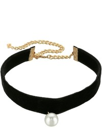 Rebecca Minkoff Velvet Choker With Pearl Charm Necklace Necklace