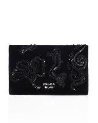 Prada Bead Embroidered Velvet Clutch