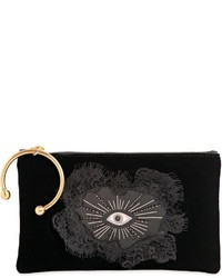 RED Valentino Velvet Clutch W Hand Patch Eye Patch