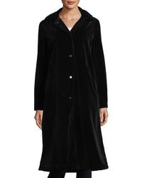 Jane Post Long Sleeve Button Front Long Velvet Coat