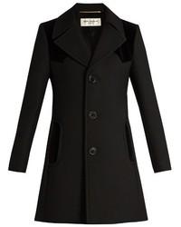 Saint Laurent Velvet Panelled Wool And Silk Blend Coat