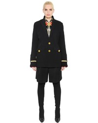 Givenchy Wool Canvas Velvet Military Style Coat