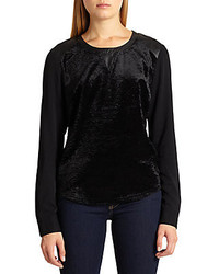 Cait Faux Leather Paneled Velvet Jersey Sweatshirt