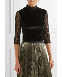 Alice + Olivia Alice Olivia Jenny Cropped Lace Paneled Velvet Top Black