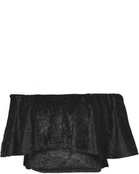 a1889ccebfd89 ... Boohoo Elise Flocked Velvet Off The Shoulder Frill Top ...