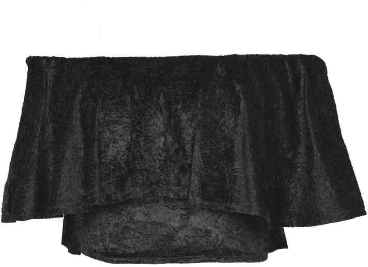b92b98ddec12a Boohoo Elise Flocked Velvet Off The Shoulder Frill Top