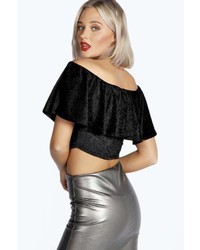 a111bedb6db4e ... Boohoo Elise Flocked Velvet Off The Shoulder Frill Top