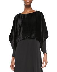 Eileen Fisher Velvet Kimono Crop Top Black Petite
