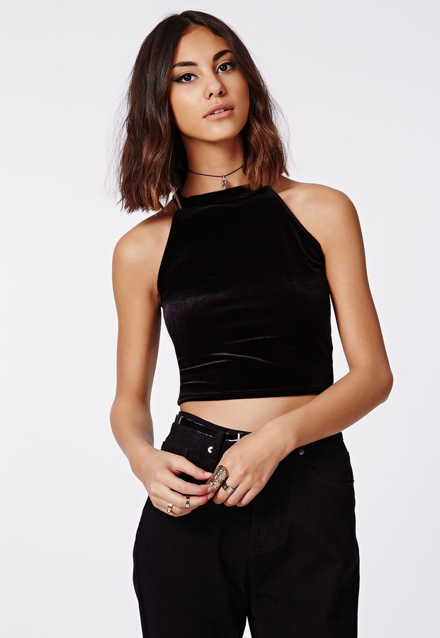 7ae3492b0e6a3 Missguided Claudia Velvet High Neck Crop Top Black, $20 | Missguided ...