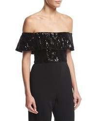 Jay Godfrey Off The Shoulder Velvet Sequin Crop Top
