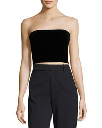 Monique Lhuillier Strapless Velvet Crop Top