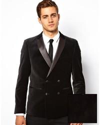 How To Wear A Black Velvet Double Breasted Blazer For Men 1 Looks
