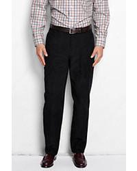 Lands' End Plain Front Traditional Fit 10 Wale Corduroy Trousers Velvet Plum Paisley Print