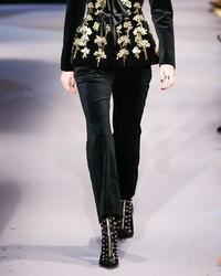 Altuzarra Serge Velvet Flat Front Classic Pants Black