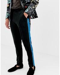 ASOS DESIGN Skinny Smart Trouser In Black Velvet With Blue