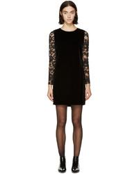 Saint Laurent Black Velvet Lace Sleeve Dress
