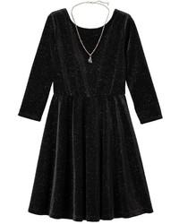 Girls 7 16 Plus Size Lilt Glitter Velvet 34 Length Sleeve Skater Dress With Necklace