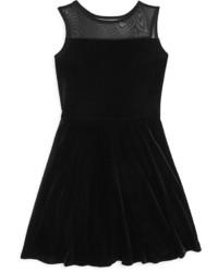 Aqua Girls Illusion Yoke Velvet Skater Dress Big Kid 100%
