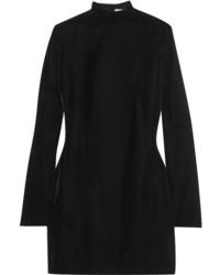 Saint Laurent Open Back Velvet Mini Dress Black