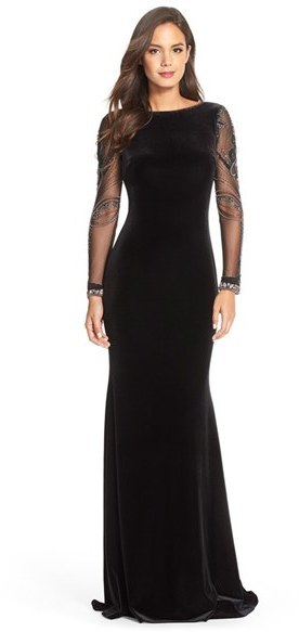 Badgley Mischka Beaded Mesh Velvet Gown