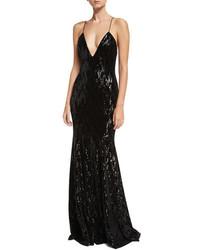 Major deep v neck sleeveless velvet sequin evening gown medium 5253500