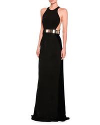 Saskia sleeveless belted velvet gown black medium 3746094