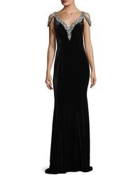 V neck jeweled velvet evening gown medium 4948784