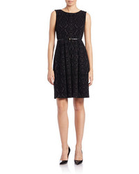 Calvin Klein Belted Velvet Fit And Flare Dress