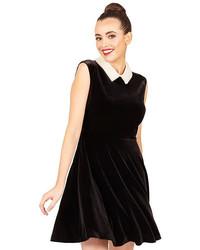 Betsey Johnson Velvet Pearl Collar Dress