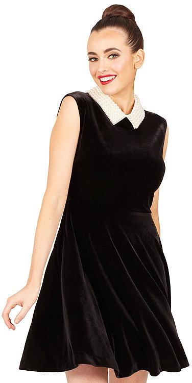 Betsey Johnson Velvet Pearl Collar Dress | Where to buy & how to wear
