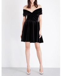 Emilio De La Morena Off The Shoulder Stretch Velvet Dress