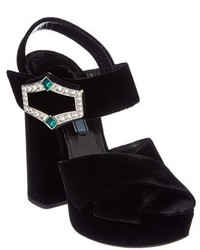 Prada 130 Jewel Embellished Velvet Platform Heel