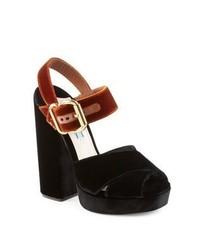 Prada Bicolor Velvet Block Heel Sandals