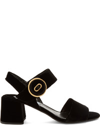 Prada Button Buckle Velvet Sandals