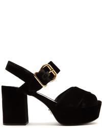 Prada Cross Strap Velvet Platform Sandals