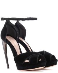 Alexander McQueen Curved Horn Heel Velvet Sandals