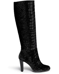 Black Velvet Knee High Boots