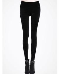 Black Velvet Slim Leg Leggings
