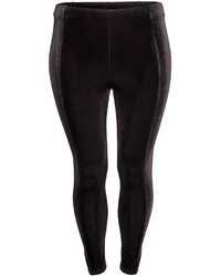 H&M Crushed Velvet Leggings Black Ladies