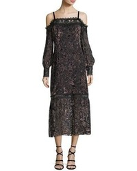 Picadilly cold shoulder velvet burnout midi dress medium 5207890