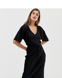 River Island Plisse T Shirt Dress With In Black Velvet