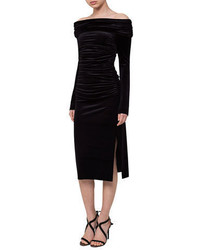 Ruched off the shoulder velvet midi dress medium 5370933