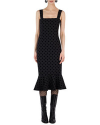 Square neck velvet dot midi dress medium 4470635