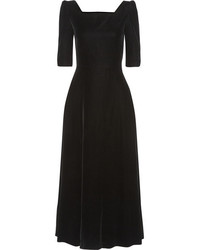 Saint Laurent Velvet Midi Dress Black