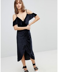Stradivarius Wrap Velvet Midi Dress