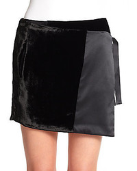 Mini velvet satin wrap skirt medium 143890