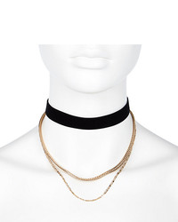 River Island Black Velvet Multi Chain Choker