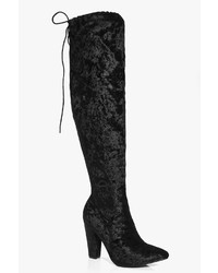 Boohoo Kara Velvet Pointed Toe Over The Knee Boot